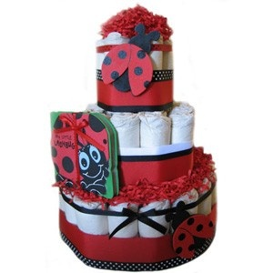 all diaper cakes organic ladybug themed 3 tier diaper cake 8995 http baby shower centerpieceslady - Ladybug Baby Shower Decorations