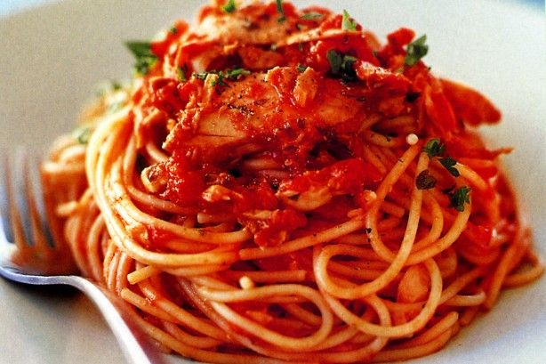 Spaghetti with tuna sauce  - add anchovies, capers & kalamata olives to sauce. Serve with gremolata for even more flavour!