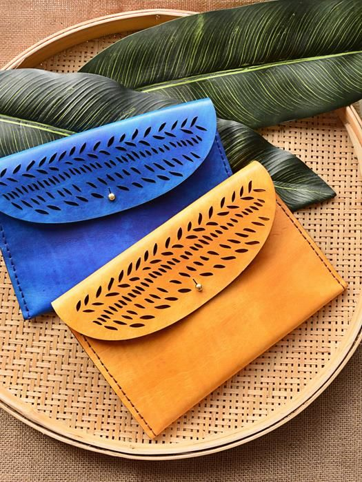 Autumn Leaves Clutches - Available in different colours - genuine leather - Marco Visconti - Hong-Kong
