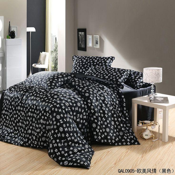 european and american style black duvet cover set silk bedding luxury bedding