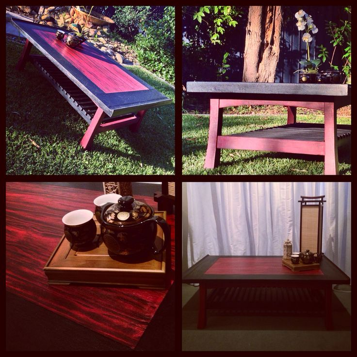Up cycled restored coffee table inspired by Japanese Torii gateways. www.facebook.com/RestoredbyGil