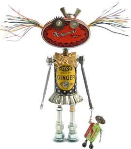 "botsy wotsyName: Botsy Wotsy D.O.B.: 1/7/13 Height: 12"" Principal Components: Spice, mint, and sinker tins, telephone wire, tartlet tin, wrenches, hose fittings, valve cores, watch movements, shoulder bolts, clock gear"