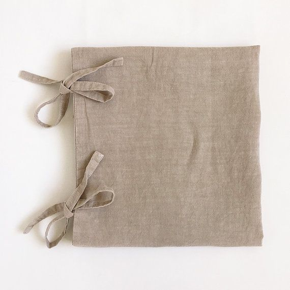 Garment dyed Linen pillowcase with bows /45x45cm / by vydravolkmer