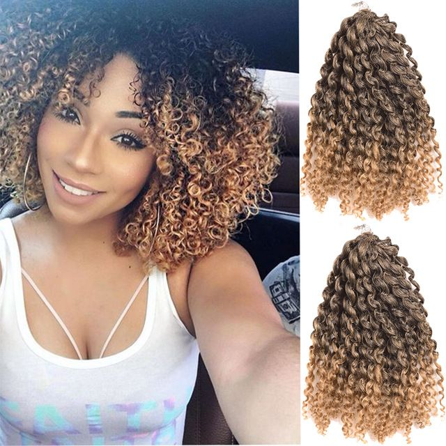 "3pcs 8"" Ombre Blue Burgundy Red Pink Blonde Malibob Havana Mambo Crochet Braids Twist Afro Kinky Curly Crochet Hair Freetress"