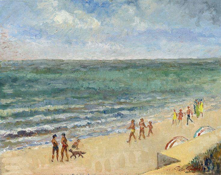 People on the beach. Around 1990 - Oil on canvas