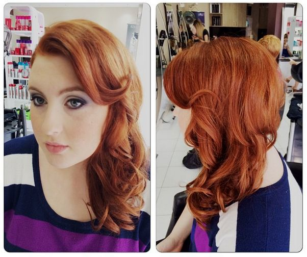 Beautiful redhead formal hair - sweeping upstyle over one shoulder, finger curls around the face and casual curls through the rest of the hair. Just lovely.