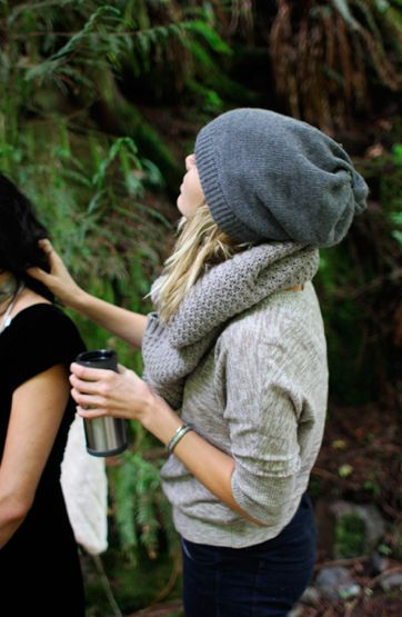 Fall fashion. Love the beanie and chunky scarf.