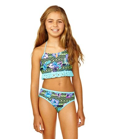 This Mint Byzantine Blossom Bikini - Girls by Breaking Waves is perfect! #zulilyfinds