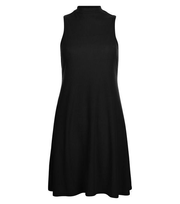 Robe trapèze noire côtelée à col cheminée | New Look