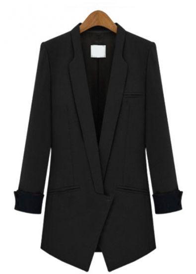 Black Lapel Long Sleeve Slim Pockets Blazer -SheIn(Sheinside) Mobile Site