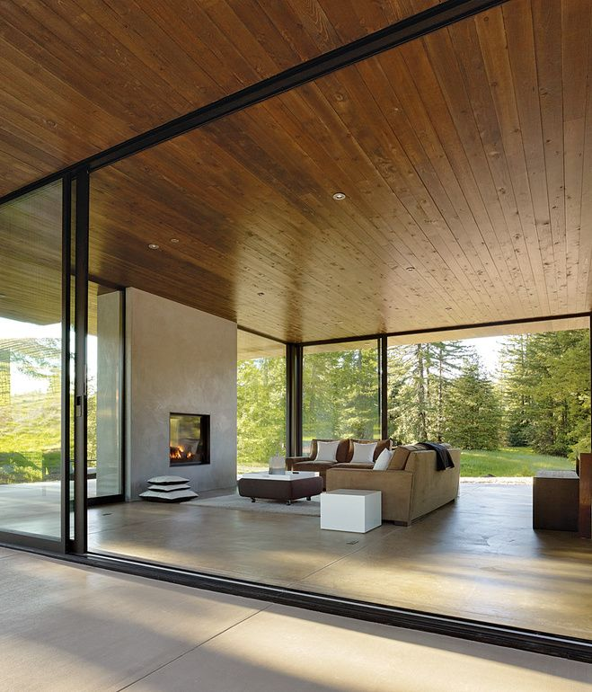 "THOSE IN GLASS HOUSES ""Creating efficient space is valuable, but for us, rooms that offer visual and spatial continuity with nature are a..."
