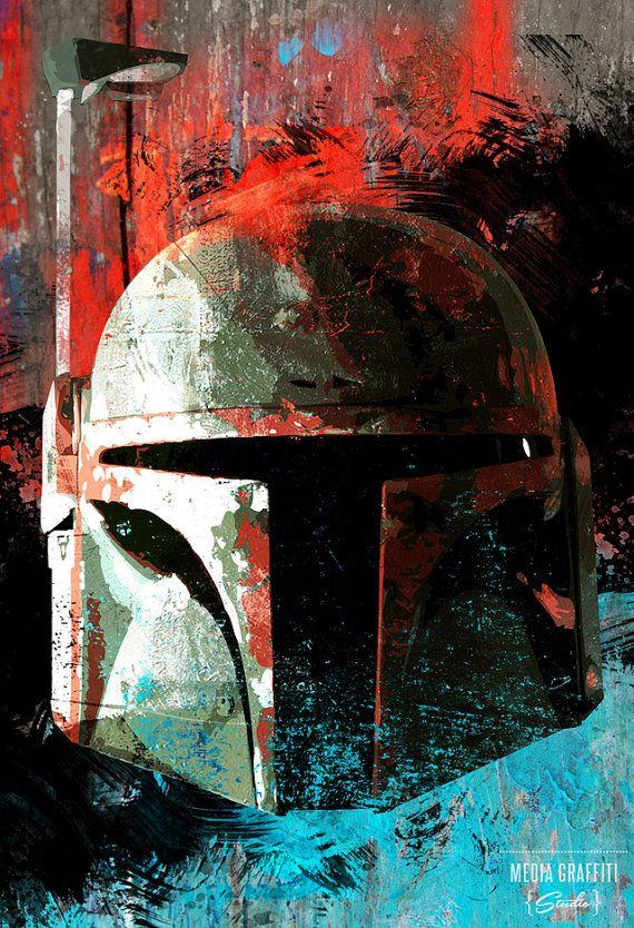 Star Wars Boba Fett portrait - Geekery fan art illustration - poster size art print, available in multiple sizes. on Etsy, $30.00