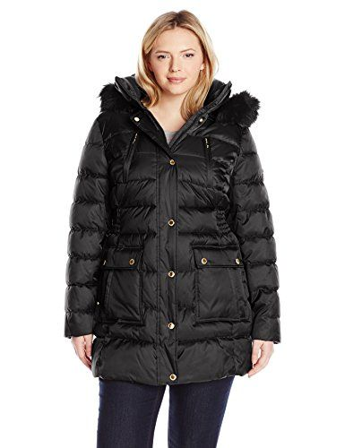 Halifax Traders Women's Plus-Size Puffer Coat with Front Pockets