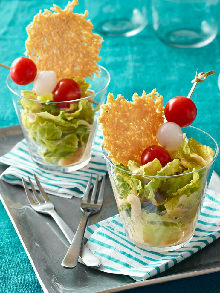 Caesar Salad Cocktail — Prepared in glasses, drizzled with dressing and served with freshly baked Parmesan crisps, these appetizers are perfect for an outdoor summer party!