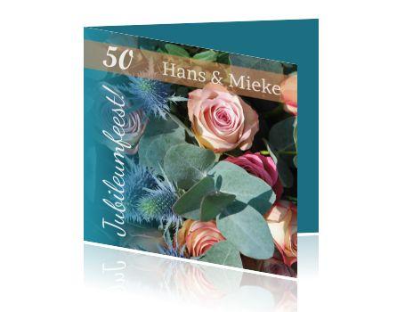 50 jarig huwelijk uitnodiging bloemen petrol en zalm