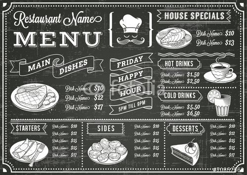 Vecteur : Chalkboard Restaurant Menu Template