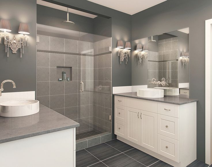 Santos White, Looks great in the bathroom with grey and blue colour walls and tiles!  EuroRite Cabinets - Available at Yorkton Building Supplies.