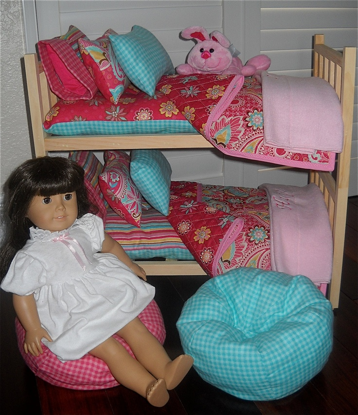 Pretty Doll Bunk Bed Separates w Quilted Teal/ Pink PERSONALIZED Bedding and Bean Bag Chairs for American Girl, Bitty Baby Waldorf Dolls. $159.99, via Etsy.