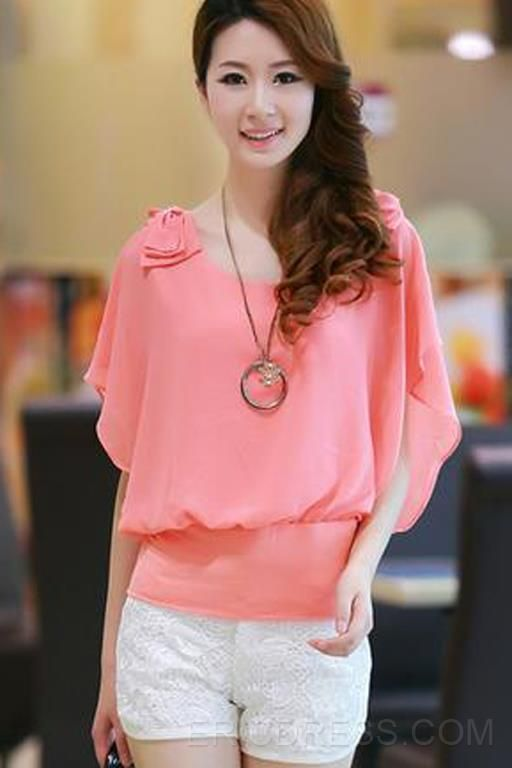 Ericdress Bright-Colored Short Sleeve  Blouse Blouses