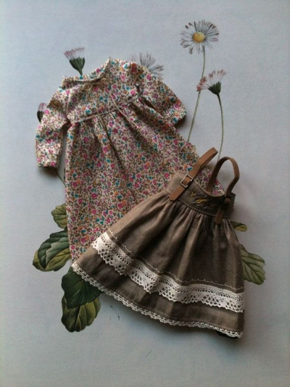 :: Crafty :: Doll :: Clothes :: Pinafore dress set for Blythe - Liberty floral