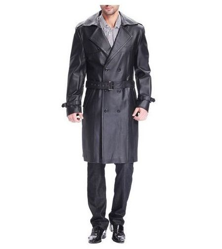 "BGSD Men's ""Xander"" Classic Leather Long Trench Coat - Mens Trench Coats / Project Fellowship"