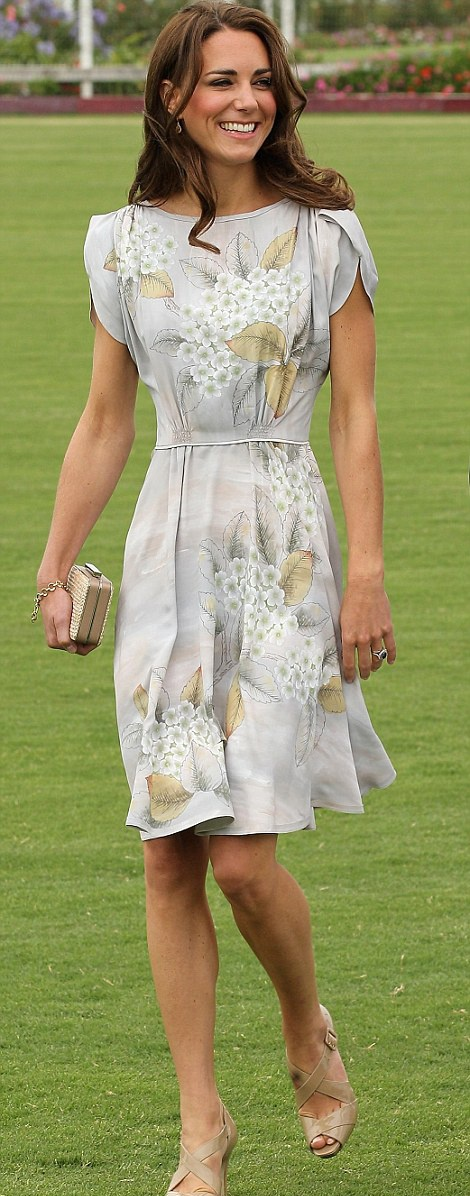 Kate Middleton in a floral Jenny Packham dress for a Foundation Polo Challenge that benefits the American Friends of the Foundation of Prince William and Prince Harry in Santa Barbara, California. - 7/9/2011
