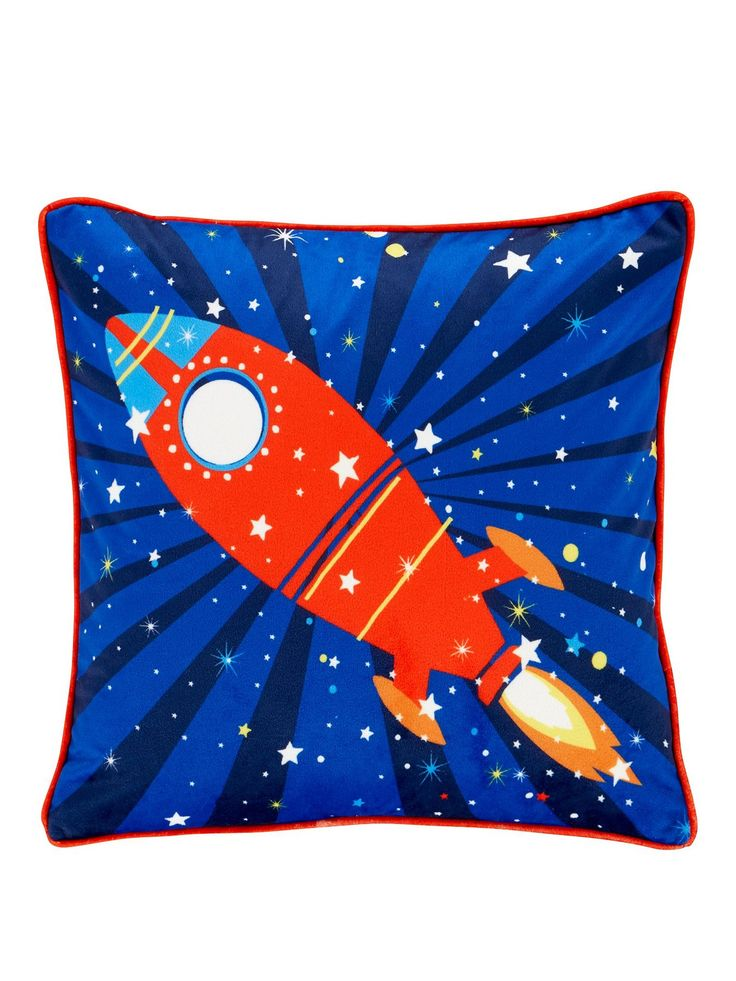 Catherine Lansfield Outer Space Cushion - 43 x 43 cm A cool finishing touch to the Outer Space range by Catherine Lansfield, this comfy cushion features a fun rocket design and red piped edging. Measuring 43 x 43 cm, it's perfect for bringing a little bit of personality to their space. Match with other items in the collection to complete the look: - Duvet Cover Set (see item number LLUNA)- Fitted Sheet (LLULF)- Eyelet Curtains (LLUN9)- Throw (LLUKM)Height: 43 CMMaterial Content: 100%…