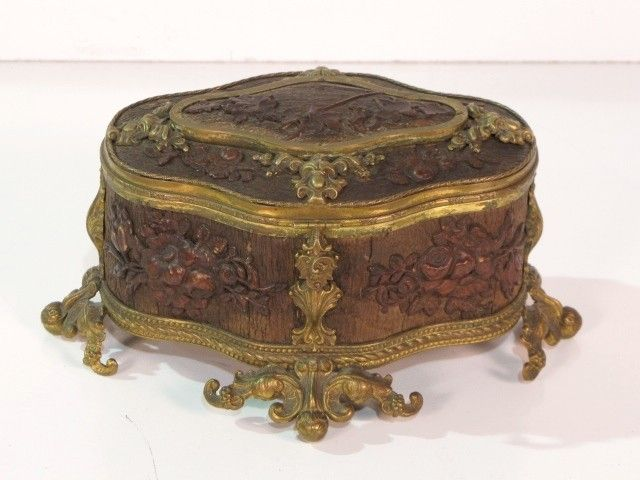 FRENCH CARVED BRASS MOUNTED JEWELRY BOX