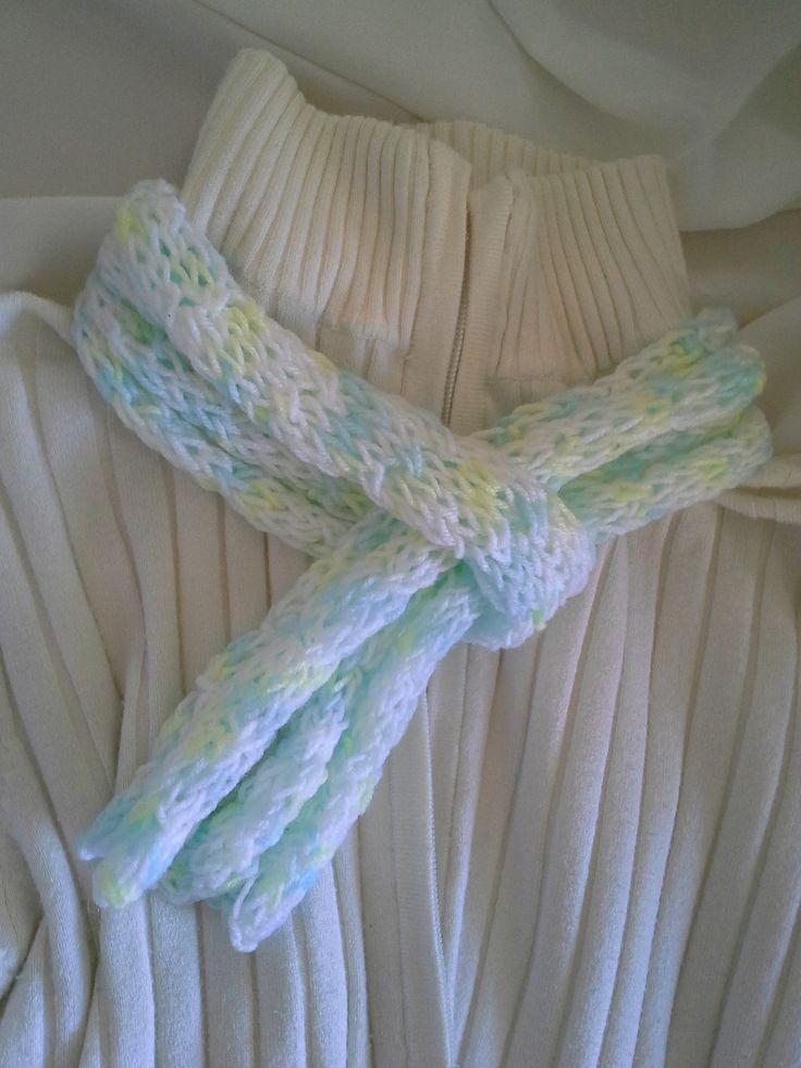 Knit spring skinny scarf pastel  https://www.etsy.com/au/shop/EVLovelyExpressions?ref=hdr_shop_menu
