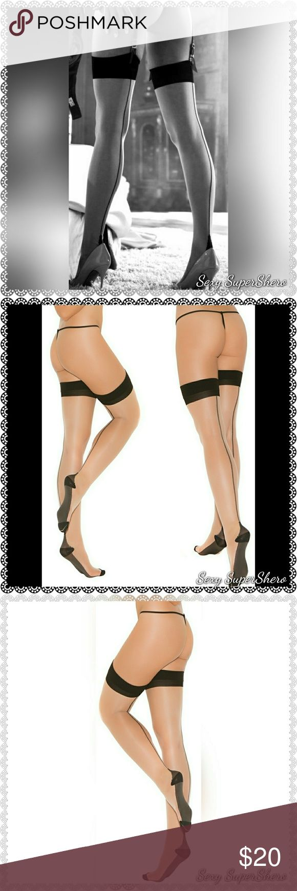 🆕Sexy Sheer Black Foot & Seam Thigh-hi's lingerie Sheer Nude & Black Cuban foot thigh hi with sexy black back seam and top. Pair with my black garter belt or many of my lingerie sets to complete a super hot look!😻  Size(s): One Size (see size chart pic for OS, not available in QS)  Color(s): Nude/Black ( Also available in Nude/Red , perfect for Valentine's day! , See other lisitng)  Material(s): 85% Nylon, 15% Spandex  Prices are FIRM unless bundled 💰 Bundle & Save! 📦 Ships in 1-2…