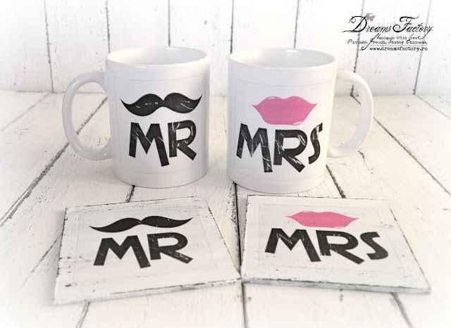Dreams Factory: In Love Retro Mugs & Matching Coasters ♦ Valentine's day gifts