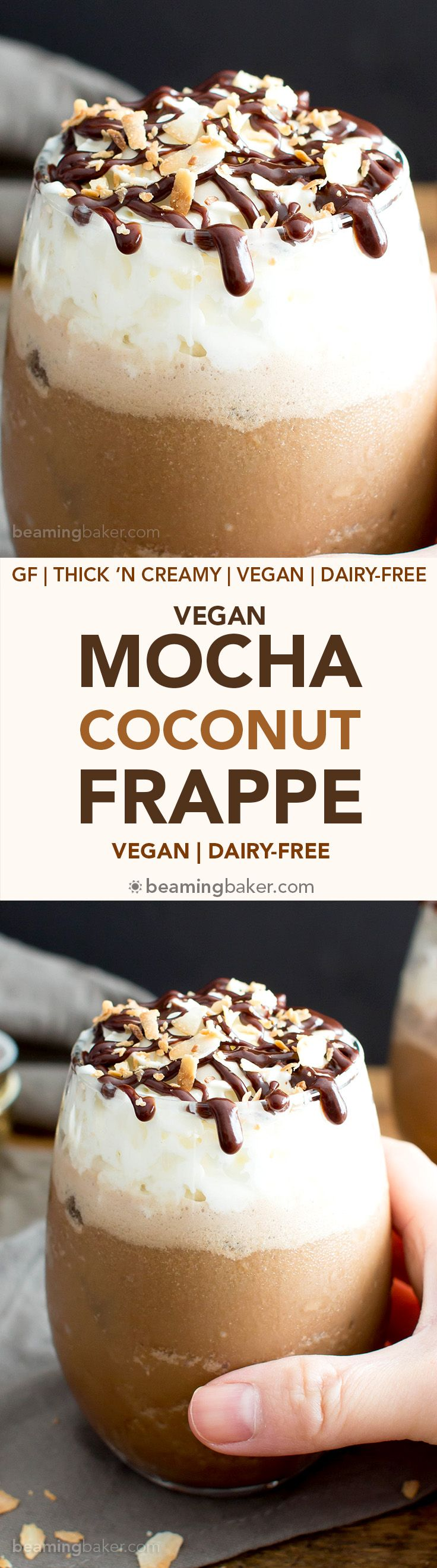 Mocha Coconut Frappe (V, GF): a quick and easy recipe for the tastiest, creamiest homemade frappe you've ever had. #Vegan #GlutenFree #DairyFree #Coffee #Frappuccino #Amoretti #AD   Recipe by BeamingBaker.com