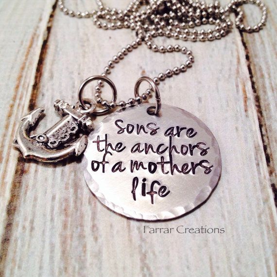 Mother/Son necklace - 'Sons are the anchors of a mothers life' - Hand stamped - Mothers Day, gift for grand mother on Etsy, $30.00