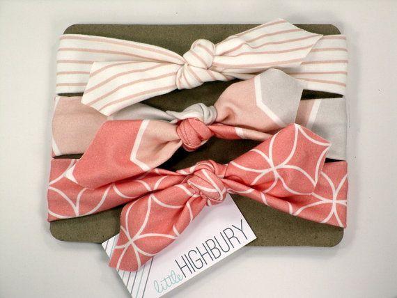 Baby Organic Cotton Knotted Headband/ Infant Headband/ Toddler Headband/ Jersey Knit Coral Gray stripe Chevron Headband/ Set of Three on Etsy, $28.00