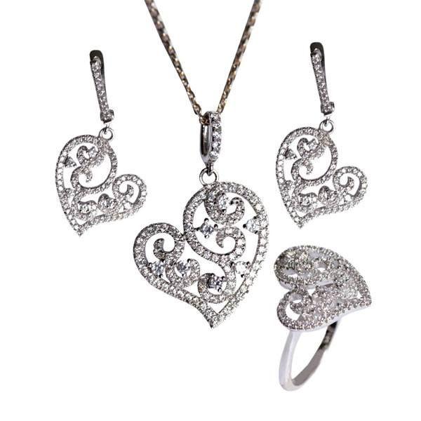 Kalp modelli, zirkon taşlarla işlemeli, gümüş bayan set