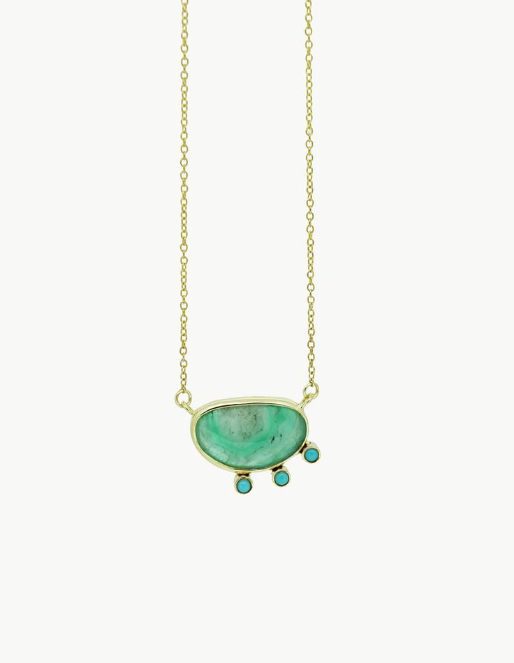 Raw Emerald and Turquoise Slice Necklace by Kathryn Bentley