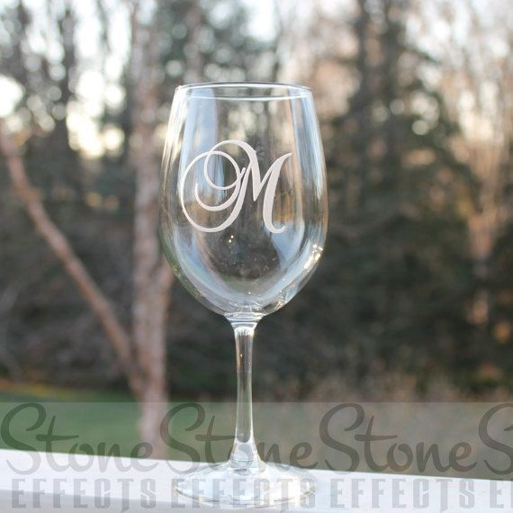 Monogram wine glass Etched Wine Glass Wine Glass by StoneEffectsMD                                                                                                                                                                                 More