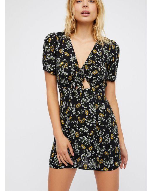 0bed4026dc35e0 171045 Free People Beach Jinx Tie Floral Printed Black Combo Romper Dress  XXS #fashion #