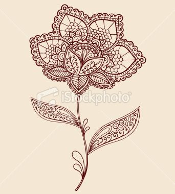 Henna/Mehndi Lace Paisley Flower Doodle Royalty Free Stock Vector Art Illustration