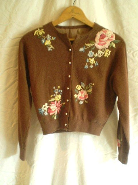 Lovely Vintage Embroidered 1950 Sweater by jclairep on Etsy, $35.00   This looks alot like one I just bought my daughter at Anthropologie!