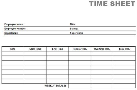Free Time Card Template | printable blank PDF time card time sheets