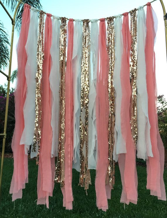 Peach and Gold Banner Ribbon Garland Ribbon by WithLOVEeventdecor