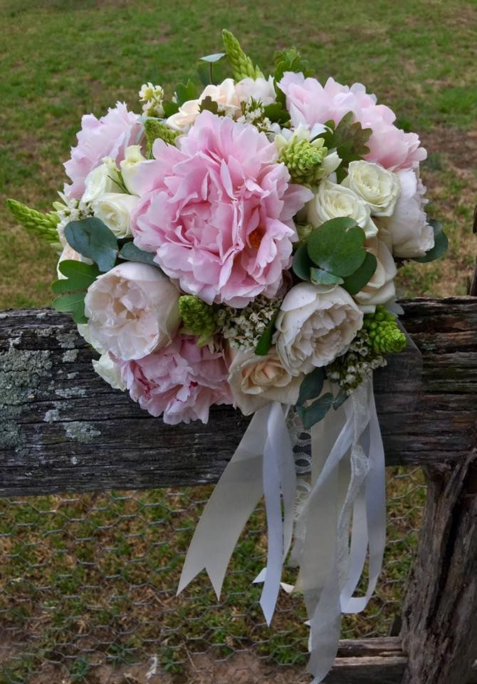 bridesmaid bouquet of peony, david austin roses chins and waxflower created by lovely bridal blooms