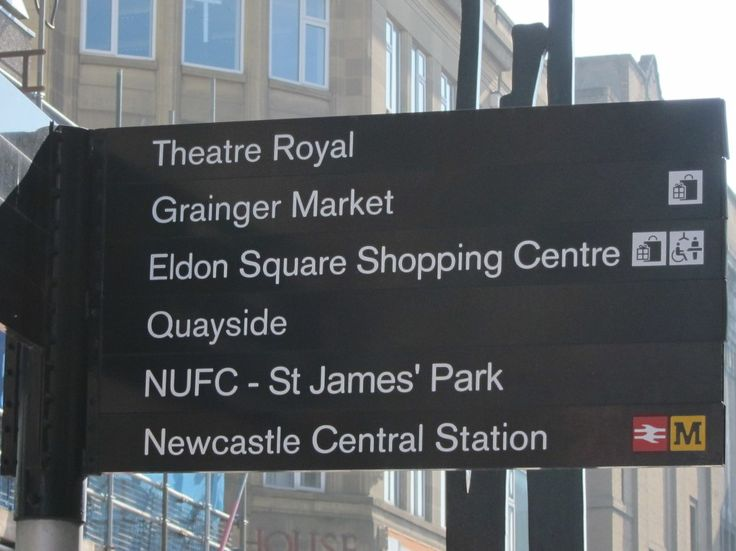Street sign in Newcastle upon Tyne showing different locations that just so happen to be mentioned in the Definition series