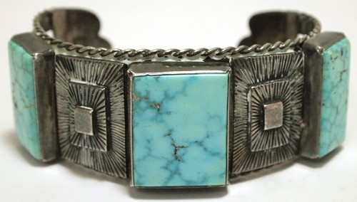 Old Pawn Navajo Kingman Turquoise Sterling Silver Cuff Bracelet