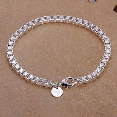Women Fashion Jewelry 925 Sterling Silver Plated Cuff Charm Chain Bracelet