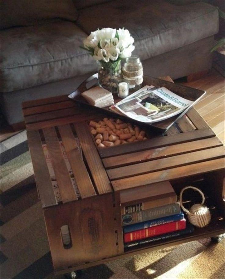 alternative des palettes Europe: table basse en caisses de bois
