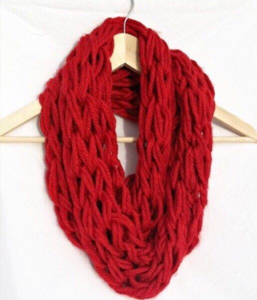 Hey, I found this really awesome Etsy listing at https://www.etsy.com/listing/210849031/red-infinity-scarf-red-arm-knit-scarf