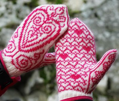 These mittens are apparently inspired by Freja, a Norse goddess of love and fertility. So cute for Valentine's season.