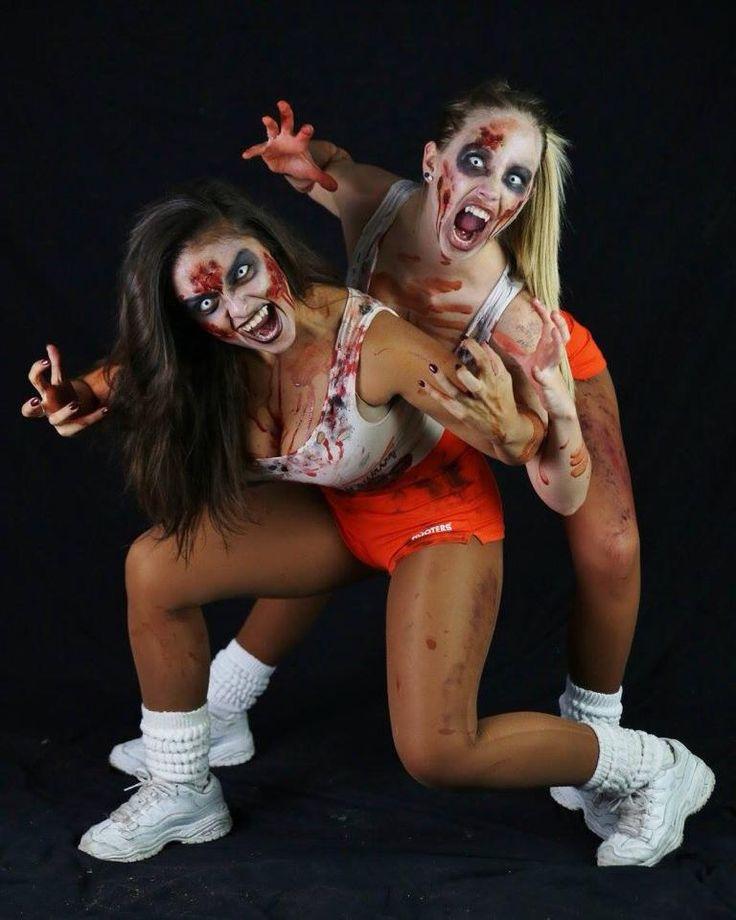 Hooter's Zombie's Raina & Dina at Blind Scream Haunted House 2014-Rohnert Park, Ca